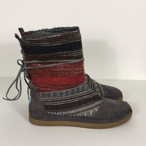 TOMS Grey Aztec Nepal Woven Boots